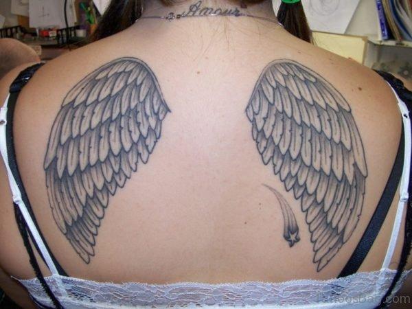 Amazing Grey Wings Tattoo