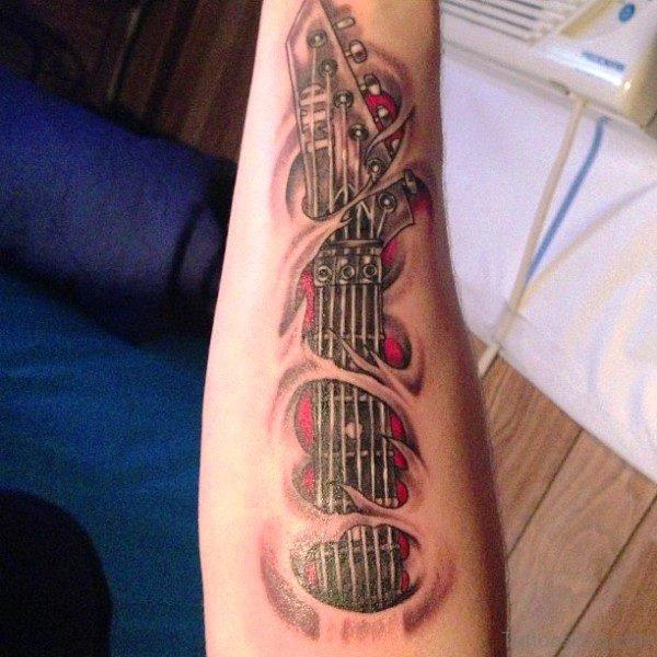 Amazing Guitar Tattoo On Forearm
