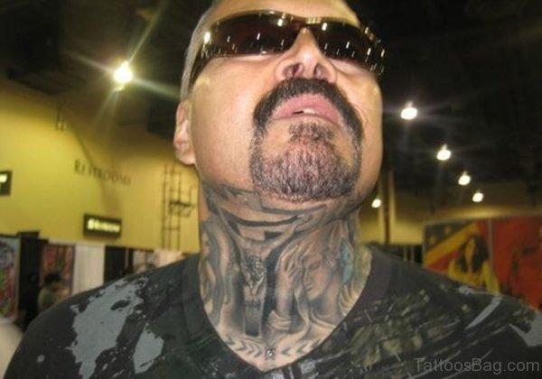 Amazing Jesus Neck Tattoo Design