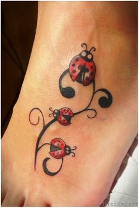 Amazing Ladybug Tattoo On Foot