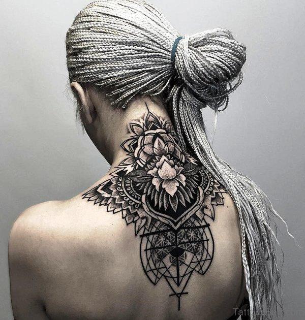 Amazing Lotus Lace Neck Tattoo