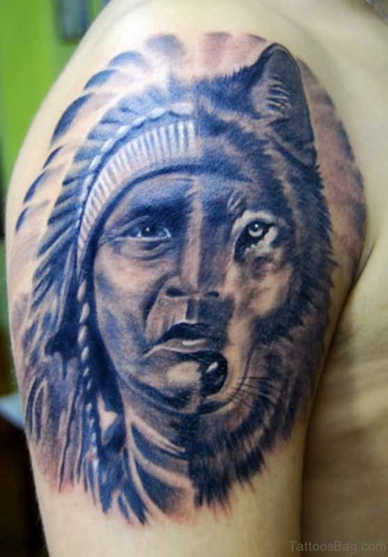 Amazing Man And Wolf Tattoo Of America