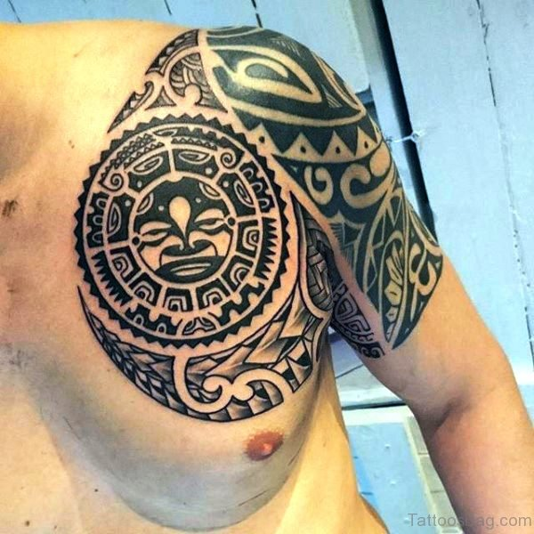 Amazing Maori Tattoo On Left Shoulder