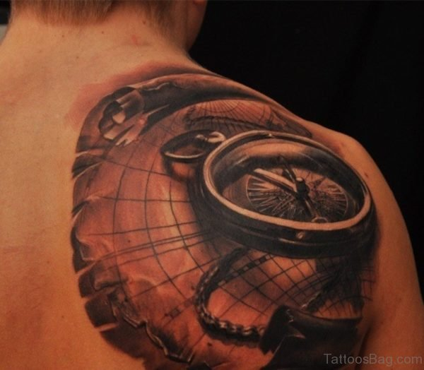 Amazing Map Tattoo On Back Shoulder