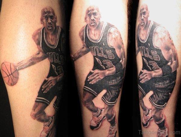 Amazing Michael Jordan Portrait Tattoo On Leg