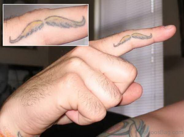 Amazing Mustache Tattoo On Finger