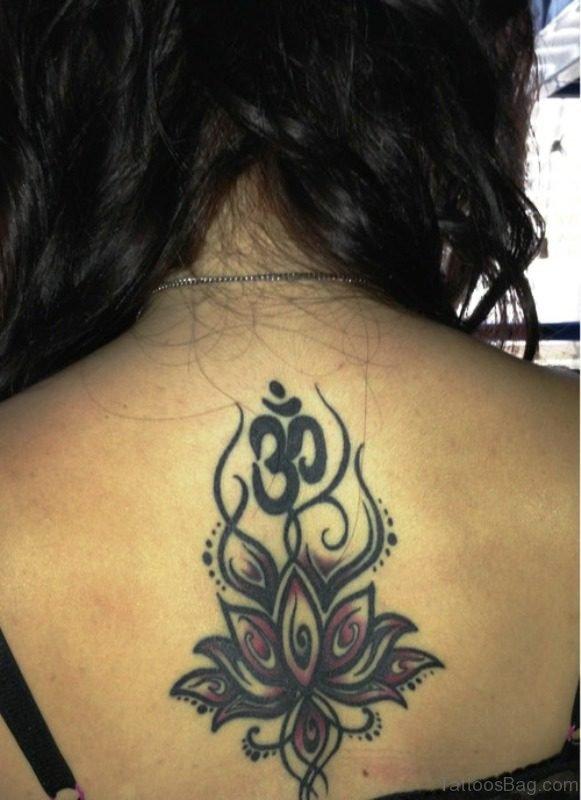Amazing Om And Lotus Neck Tattoo