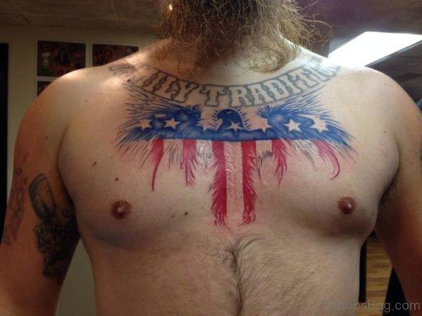 Amazing Patriotic USA Flag Eagle Tattoo On Man Chest