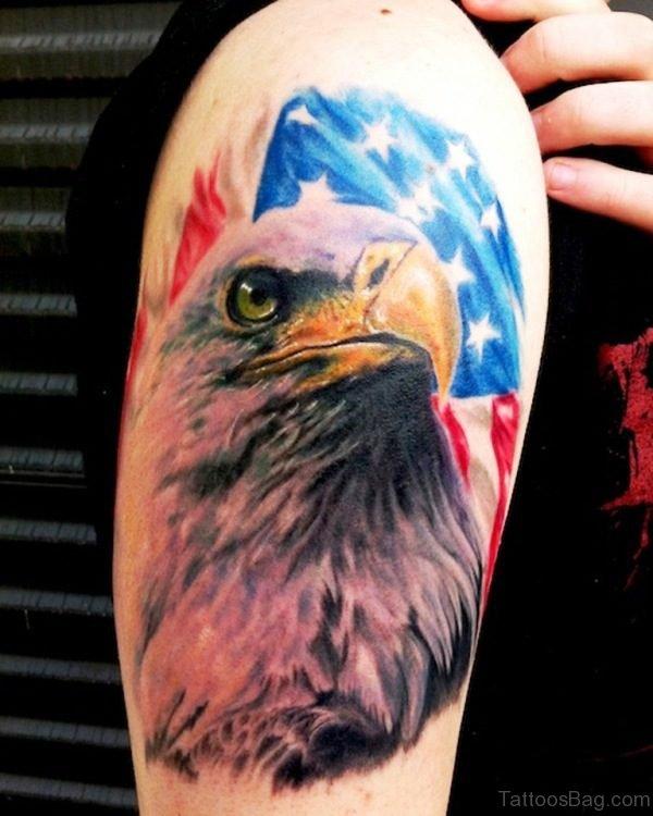 Amazing Patriotic Eagle Shoulder Tattoo