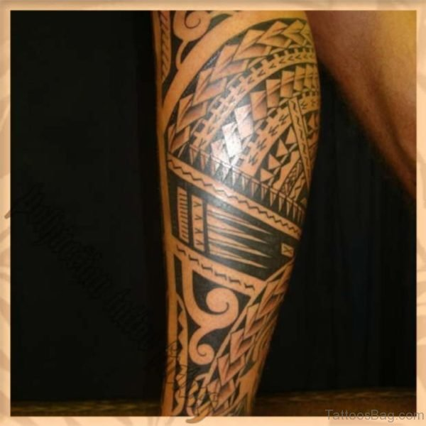 Amazing Polynesian Tribal Tattoo On Leg