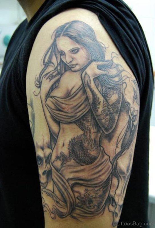 Amazing Portrait Girl Tattoo