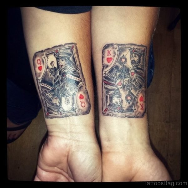 Amazing Queen And King Cards Tattoo