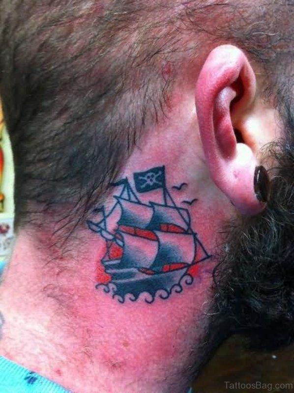 Amazing Ship Neck Tattoo