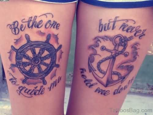 Amazing Ship Steering Wheel Anchor Tattoo On Thigh