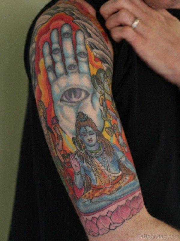Amazing Shiv Half Sleeves Shoulder Tattoo