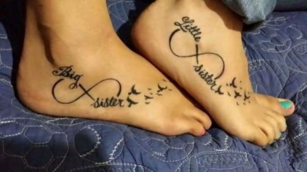 Amazing Sisters Tattoo On Foot