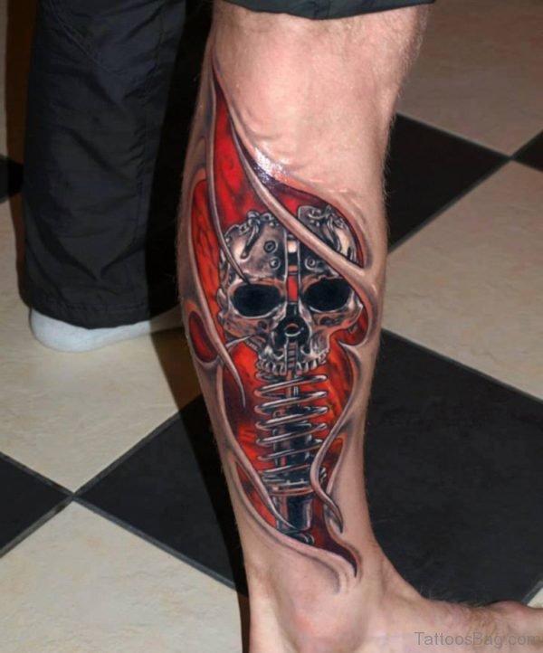 Amazing Skull 3D Tattoo Design on Leg