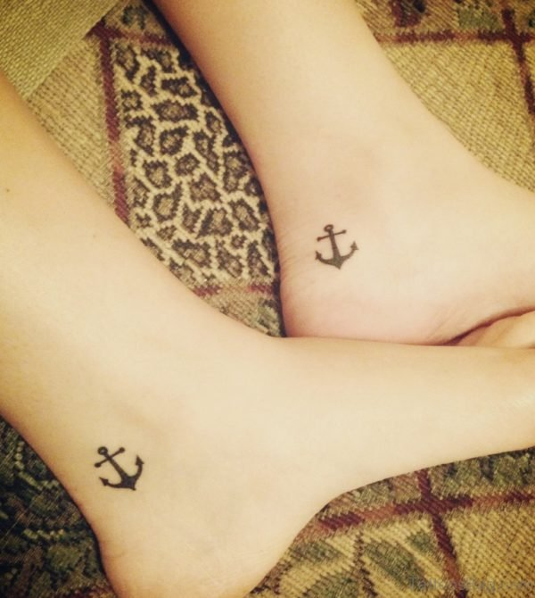 Amazing Small Anchor Tattoo On Ankle