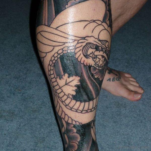 Amazing Snake Tattoo On Leg