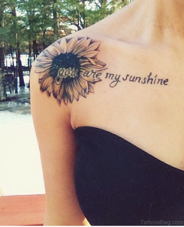 Amazing Sunflower tattoo On Shoulder