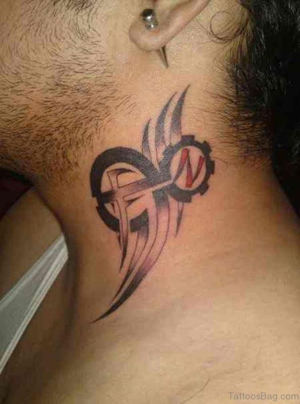 Amazing Tribal Neck Tattoo