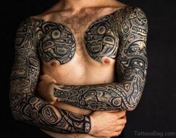 Amazing Tribal Tattoo On Full Sleeve
