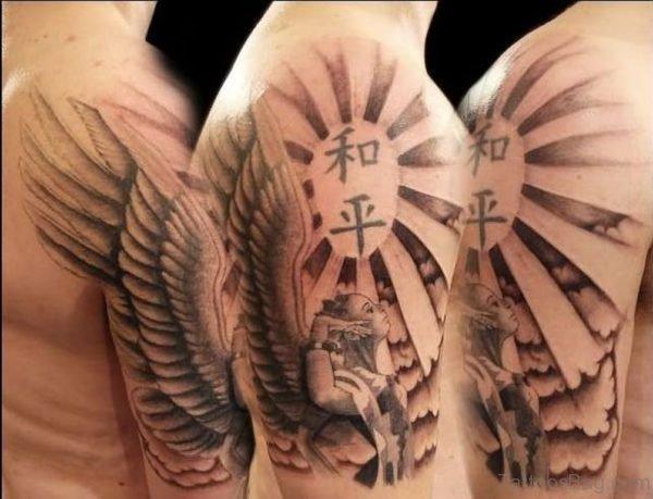 Amazing Wavy Wings Tattoo