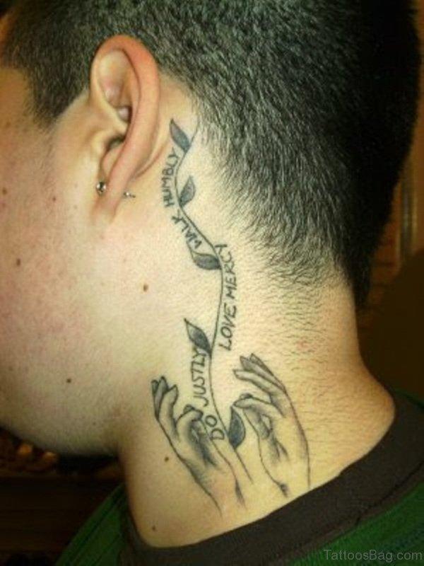 Amazing Wording Tattoo On Side Neck