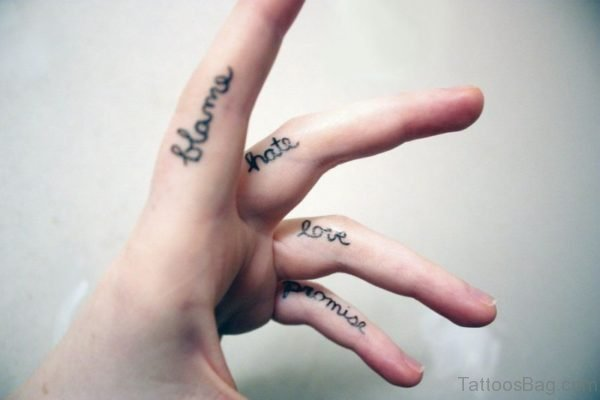 Amazing Words Tattoo On Finger