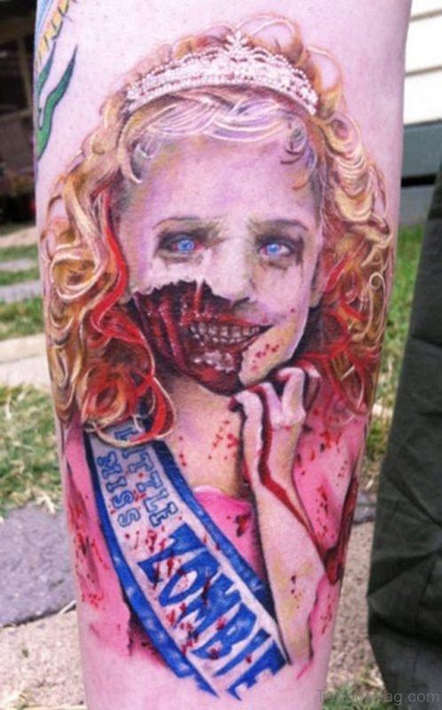 Amazing Zombie Girl Portrait Tattoo