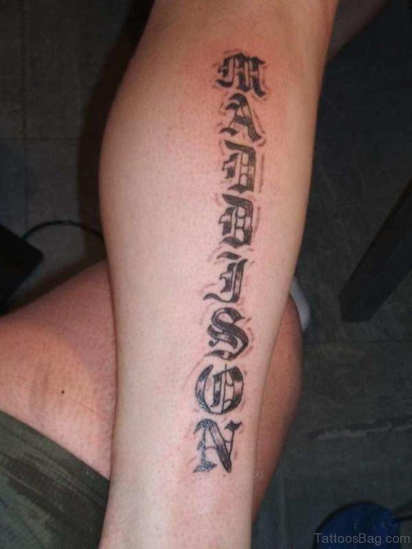 Ambigram Leg Tattoo