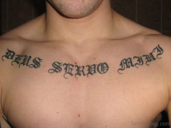 Ambigram Lettering Chest Tattoo