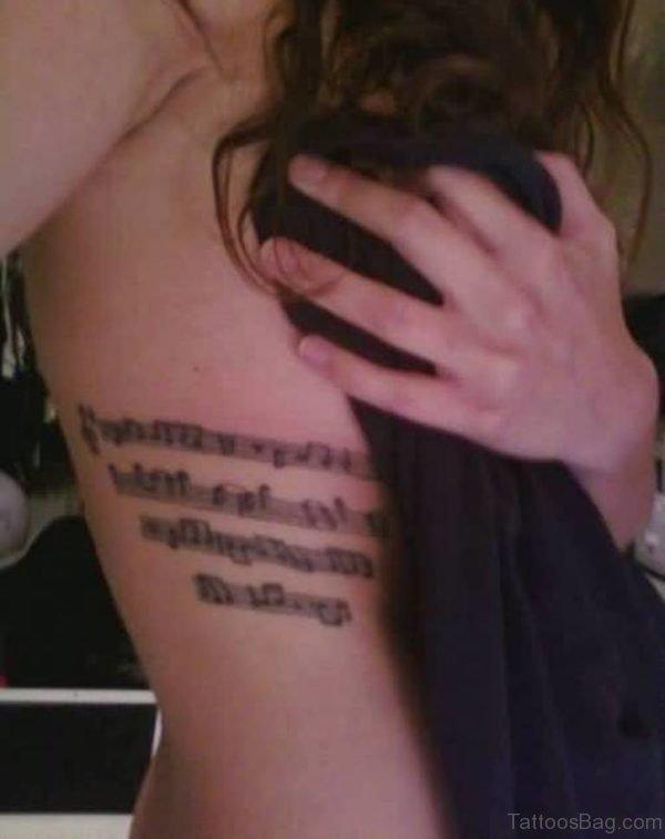 Ambigram Tattoo On Girl Rib