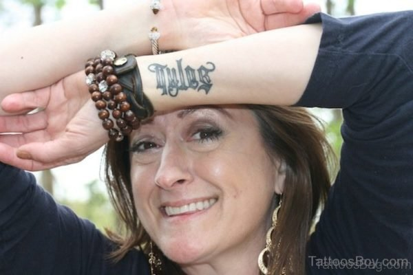 Ambigram Tattoo On Wrist For Girls