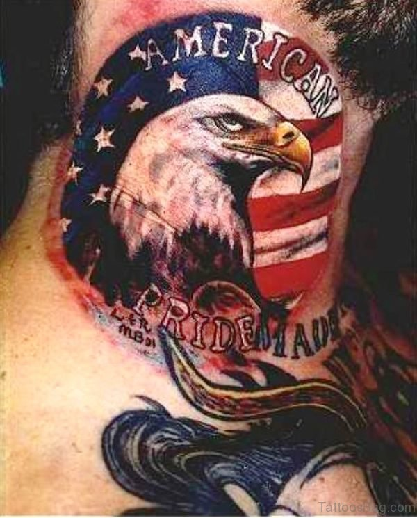 American Eagle Tattoo On Neck