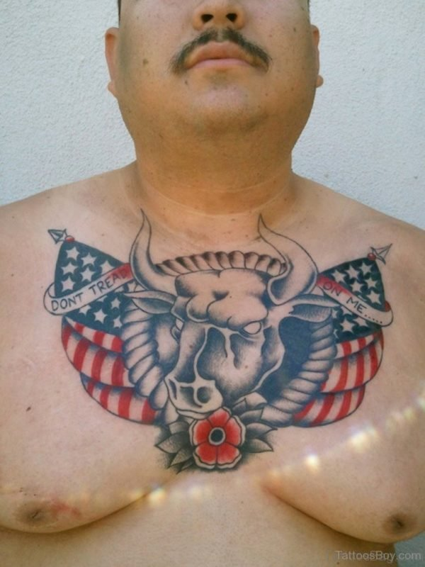 American Flag And Bull Tattoo On Chest