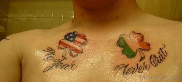 American Flag Clover Tattoo On Right Chest