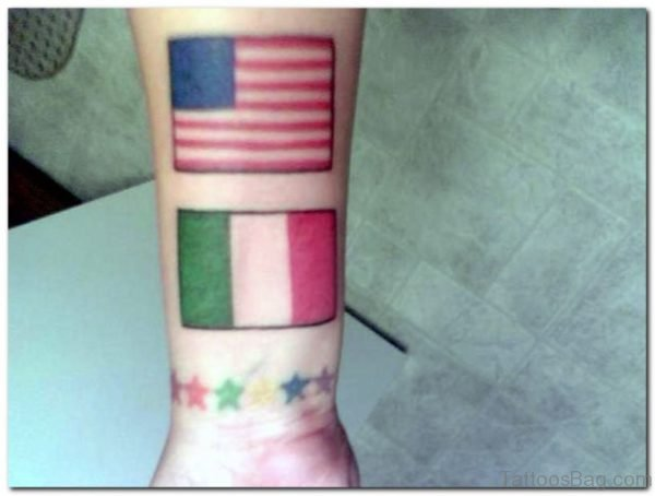 American Flag With Italian Flag Tattoo On Wrist