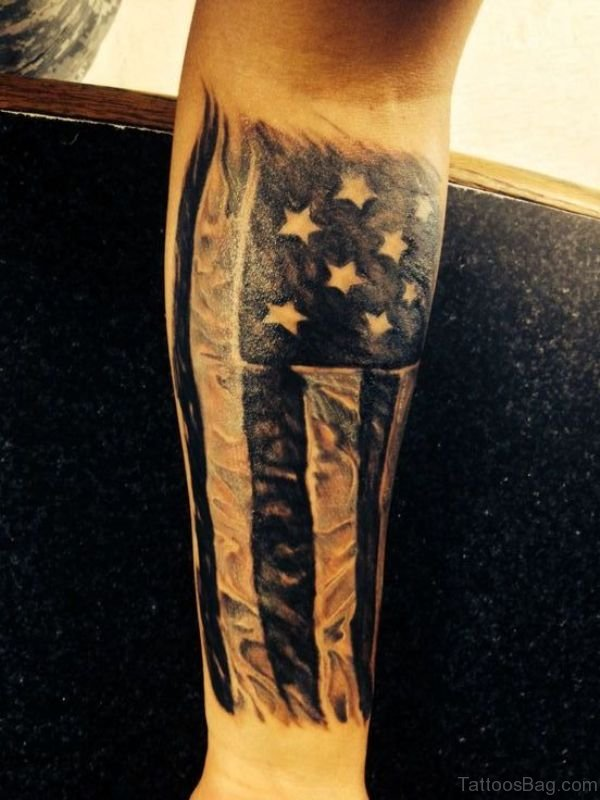 American Flag Wrist Tattoo Design