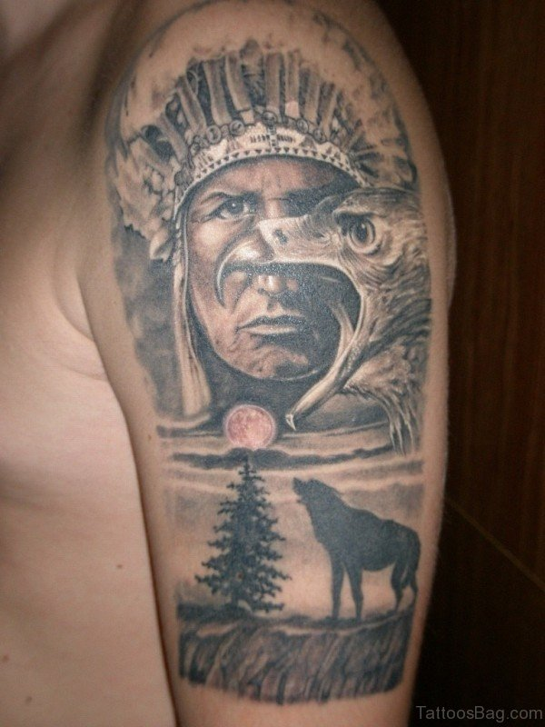 American Man With Wolf And Eagle Tattoo