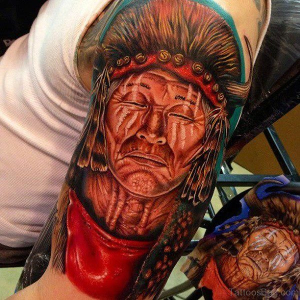 American Native Tattoo On Left Shoulder