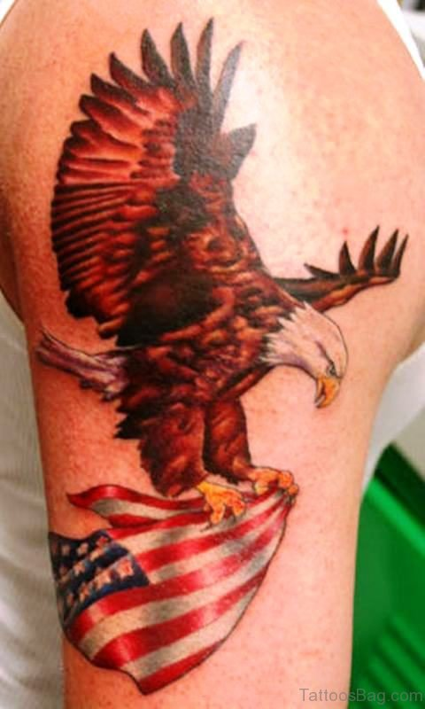 American Red Eagle Shoulder Tattoo