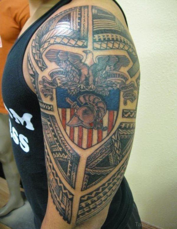 American Shoulder Half Sleeves Tattoo Design