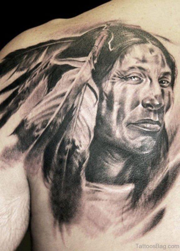 American Tattoo On Back Shoulder