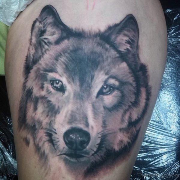 American Wolf Tattoo On Thigh