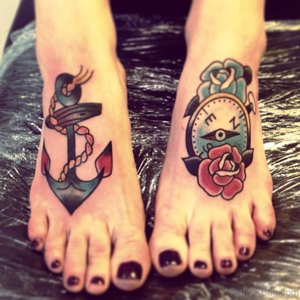 Anchor And Compass Tattoo On Feet
