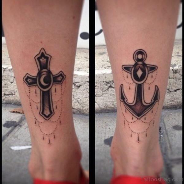 Anchor And Cross Tattoo