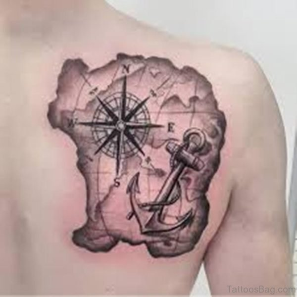 Anchor And Map Tattoo