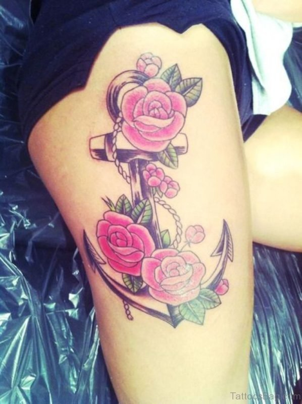 Anchor And Pink Rose Tattoo