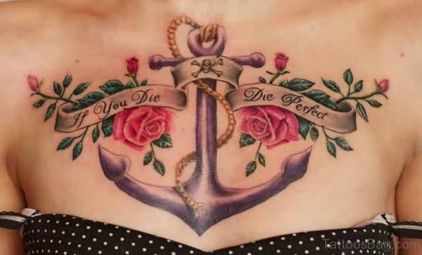 Anchor And Rose Tattoo On Chest